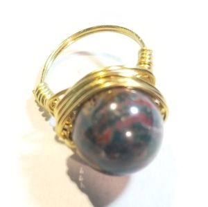 Hand Crafted Jasper Brass Wire Ring Size 6